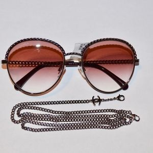 CHANEL SILVER CHARM CHAIN SUNGLASSES SUNNIES $585